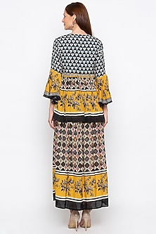 Multi Colored Printed Pleated Dress With Jacket by Soup by Sougat Paul