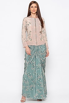 Beige Embroidered Jacket With Teal Green Draped Skirt by Soup by Sougat Paul
