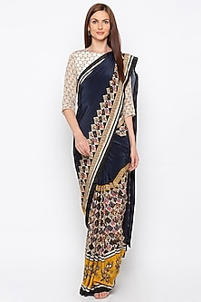 Navy Blue & Beige Printed Embroidered Pre-Stitched Saree Set by Soup by Sougat Paul