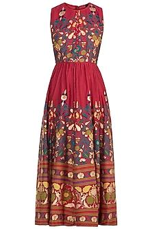 Red Printed Maxi Dress by Surendri by Yogesh Chaudhary