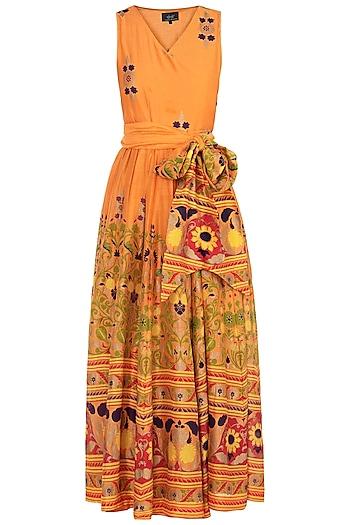 Orange Printed Maxi Dress by Surendri by Yogesh Chaudhary