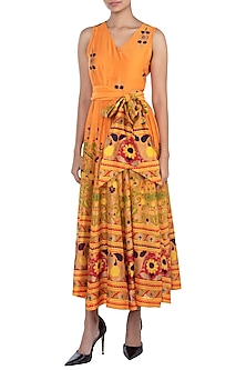 Orange Printed Maxi Dress by Surendri by Yogesh Chaudhary