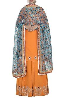 Orange Embroidered Lehenga Set by Surendri by Yogesh Chaudhary
