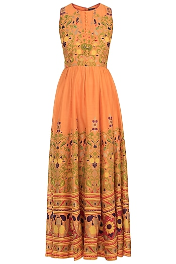 Orange Printed Anarkali Set by Surendri by Yogesh Chaudhary