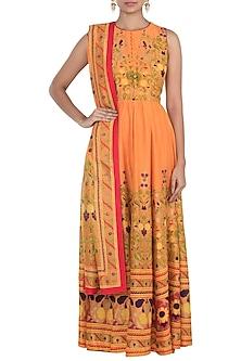 Orange Printed Anarkali Set by Surendri by Yogesh Chaudhary