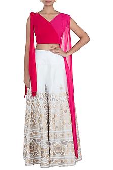 Pink & White Sharara Set by Surendri by Yogesh Chaudhary