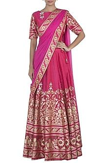 Pink Printed Lehenga Set by Surendri by Yogesh Chaudhary