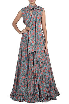 Red & Blue Printed Skirt with Crop Top by Surendri by Yogesh Chaudhary