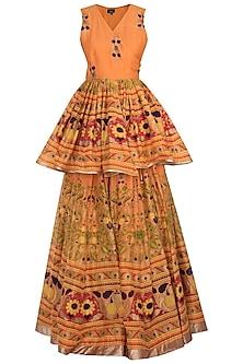 Orange Printed Skirt With Top by Surendri by Yogesh Chaudhary