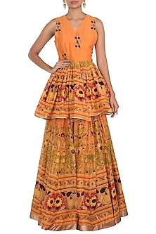 Orange Printed Skirt With Top by Surendri by Yogesh Chaudhary