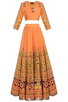 Orange Printed Lehenga Set by Surendri by Yogesh Chaudhary