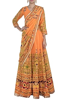 Orange Printed Lehenga Set by Surendri by Yogesh Chaudhary