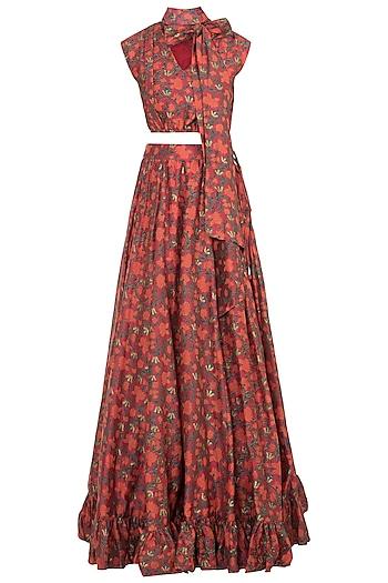 Red & Orange Printed Skirt With Crop Top by Surendri by Yogesh Chaudhary