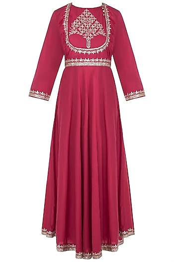 Maroon & Blue Embroidered Anarkali Set by Surendri by Yogesh Chaudhary