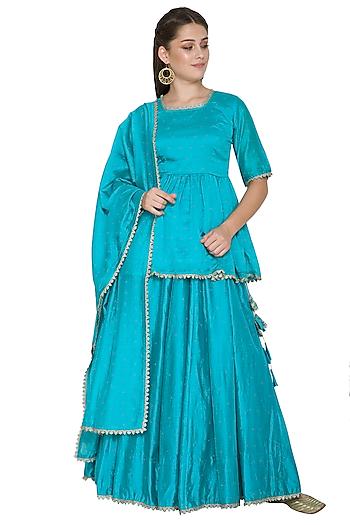 Turquoise Blue Embroidered Lehenga Set by Surendri by Yogesh Chaudhary