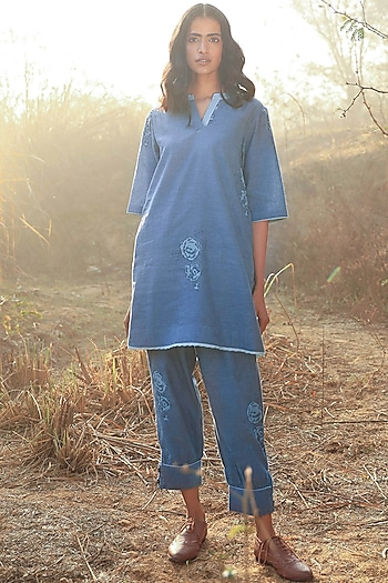 Indigo Blue Printed Tunic Set by Shorshe Clothing