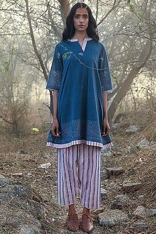 Deep Blue Printed Tunic Set by Shorshe Clothing