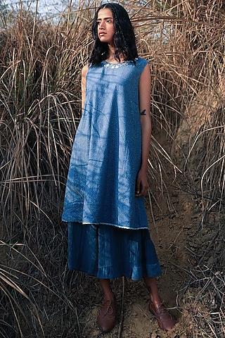 Indigo Blue Embroidered Pant Set by Shorshe Clothing