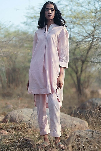 Blush Pink Cigarette Pant Set by Shorshe Clothing