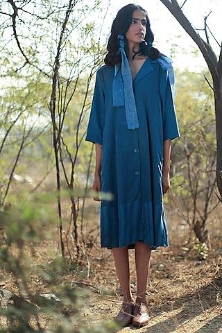 Indigo Blue Sally Dress by Shorshe Clothing