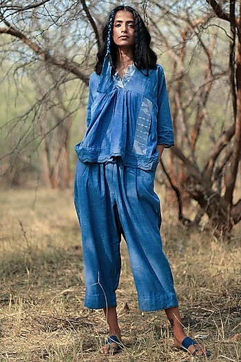 Indigo Blue Jhabla Top With Pant by Shorshe Clothing