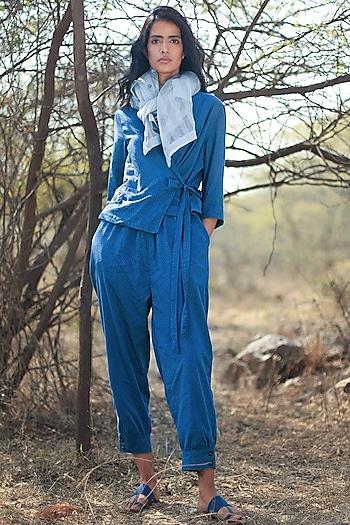 Navy Blue Pant Set by Shorshe Clothing