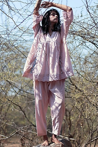 Pink Embroidered Pants Set by Shorshe Clothing
