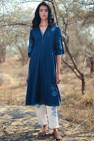 Blue Printed Pant Set by Shorshe Clothing