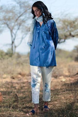 Indigo Blue Embroidered Tunic Set by Shorshe Clothing