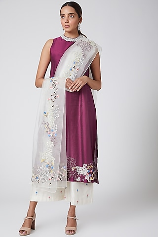 Wine & White Embroidered Kurta Set by Samant Chauhan