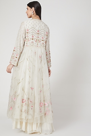 Ivory Embroidered Midi Dress by Samant Chauhan