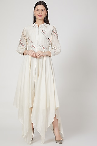 Ivory Embroidered High-Low Anarkali  by Samant Chauhan