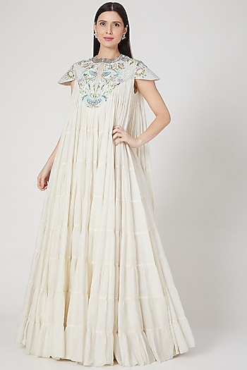 Ivory Embroidered Tiered Dress by Samant Chauhan