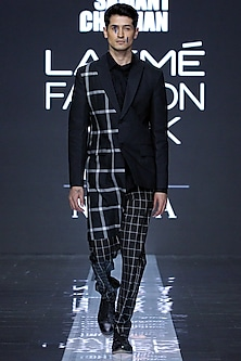 Black Blazer With Embroidered Shirt & Pants by Samant Chauhan Men