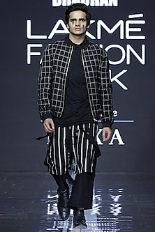 Black Jacket With Turtleneck T-Shirt & Pants by Samant Chauhan Men