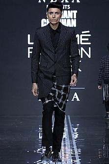 Black Printed Assymetrical Jacket With Pants by Samant Chauhan Men