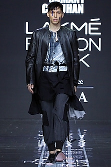Black Assymetrical Jacket With Shirt & Pants by Samant Chauhan Men