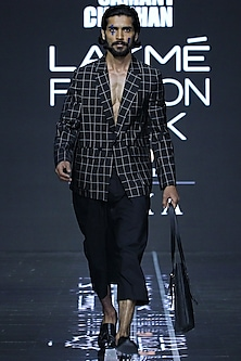 Black Printed Blazer With Flared Pants by Samant Chauhan Men