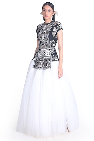 Black & White Embroidered Gown by Samant Chauhan