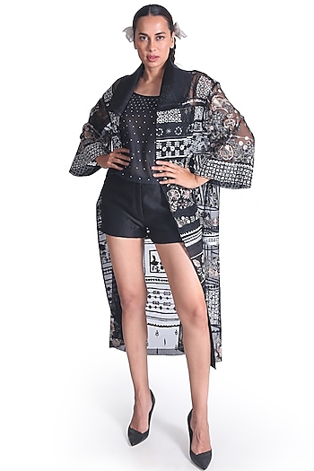 Black Embroidered Jacket by Samant Chauhan