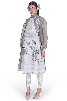 Black Embroidered High Neck Tunic by Samant Chauhan-SAMANT CHAUHAN