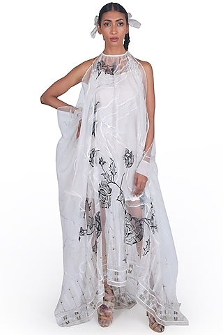 Grey Embroidered Gown by Samant Chauhan