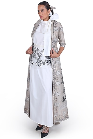 Grey Embroidered Jacket by Samant Chauhan