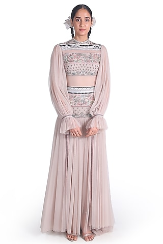 Light Peach Embroidered Gown by Samant Chauhan