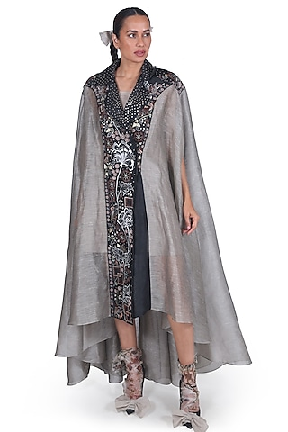 Black & Grey Embroidered Kaftan Jacket by Samant Chauhan
