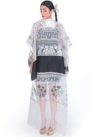 Black & White Embroidered Kaftan by Samant Chauhan