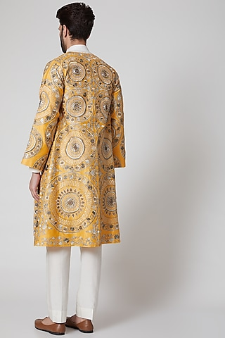 Yellow Embroidered Jacket by Samant Chauhan Men