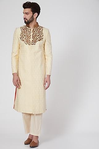 Beige Embroidered & Textured Brocade Sherwani by Samant Chauhan Men