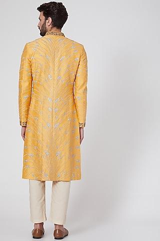 Yellow Embroidered Sherwani by Samant Chauhan Men
