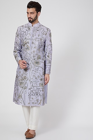 Sky Blue Embroidered Sherwani by Samant Chauhan Men